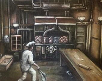 The Owl Was A Baker's Daughter, Original Painting, Kitchen, Dark Art, Surrealism, Bakery, Dream, Industrial Kitchen, Brown, Sepia, Strange