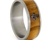 Titanium Wood Ring Inlaid w Deer Antler in a Cross Pattern Wood Wedding Band, Olive Wood, Ring Armor Included