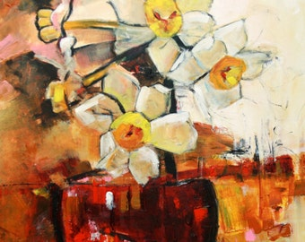 """ABSTRACT FLORAL ORIGINAL Painting """"Daffa"""" Acrylic on 20"""" x 20"""" canvas by Elizabeth Chapman"""