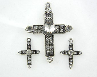 Set of Antique Silver-tone Rhinestone Cross Pendant and Matching Charms Jewelry Supplies