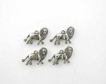 Set of 4 Pewter Lion Charms