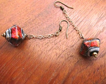 CHAINED RED Glass Earrings: Iridescent Shimmer Murano Glass Dangles, Handcrafted Jewelry, Handmade Boho Chic Jewelry