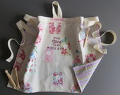 Custom order for NATALIE in Pink Birdhouse fabric with custom embroidery coordinating backing