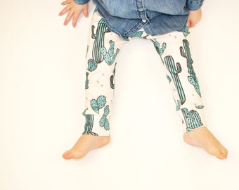 organic baby clothes // baby leggings in cactus print//  baby clothes //  baby pants // toddler pants / kids clothes / baby clothing