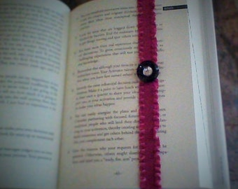 Pink with Black Button Bookmark ~Button and Bling~Book Lovers