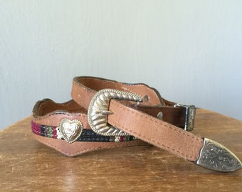 Vintage WESTERN CONCHO Belt • 1990s Brown Leather Heart Studded Woven90s Silver Metal Western Wear Cowgirl Buckle Studs • Women Size Small