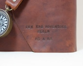 Leather Travel Journal with Vintage Maps and Working Compass - Customized