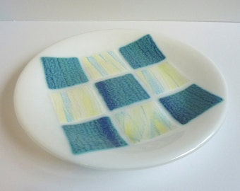 Fused Glass Round Plate in White with Shades of Blue and Yellow