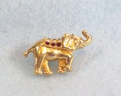 RESERVED FOR kathytahilramani:  Vintage 80s Swarovski Patriotic Little Elephant Rhinestone Tac Pin Brooch Gold Plated SAL Tiny