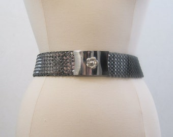 70s 80s Belt Vintage Disco Silver Metal scale Wide Elastic Cinch Belt S M L