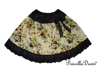 Little Country Chic Skirt Womens Black Bow Casual Skirt with Lace adjustable to Your Waist size