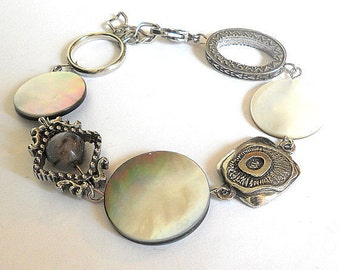 Asymmetrical white bracelet, mother of pearl and silver bracelet, Boho chic jewelry, gift for her