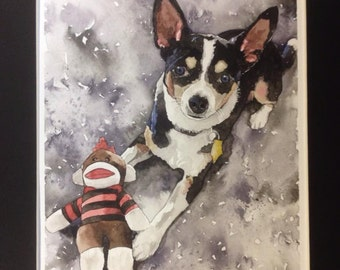 Custom Watercolor Dog Portrait - 8x10