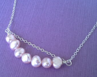 Sterling Silver Freshwater Pearl Pendant on an 18 inch Italian Sterling Silver Oval Chain - Blackmaille Free Shipping