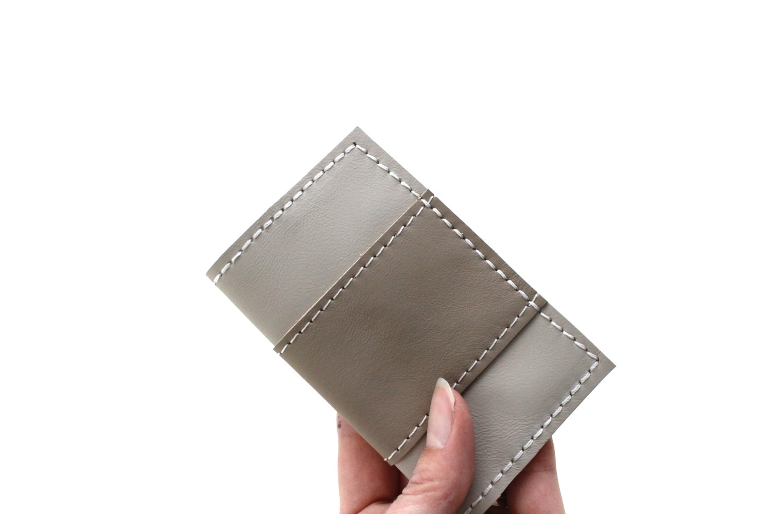 Leather business card holder personalized gift by for Monogrammed leather business card holder