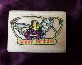 Fairie Wings Happy Birthday Rubber Stamp