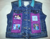 RTS Frozen Elsa Anna denim vest girls decorated denim art deco decodenim decoupage embellishment applique patchwork college custom designer
