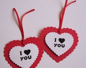 I Love You Valentine's Day Heart Favor Tags set of 12 tags