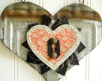Upcycled heart folk art  mixed media vintage tin metal wall hanging with key silver black red home wedding  decor Valentine N4