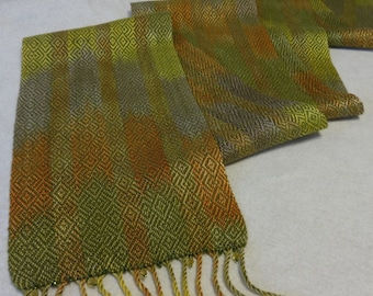 Handwoven Hand-dyed Tencel Scarf, Woven Scarf, Hand Woven Scarf, Woven Tencel Scarf, Olive Tencel Scarf, Portabella Scarf (#15-04)