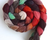 Merino/ Silk Roving (Top) - Handpainted Spinning or Felting Fiber, Brown Eyed Girl