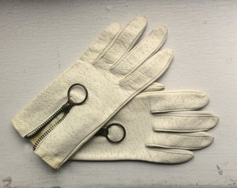 Deerskin Driving Gloves Small Off White w Brass Zipper 1960's Back Thennish Vintage Womens Ladies Mens Unisex