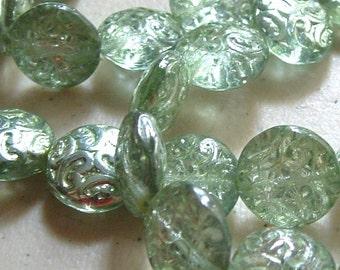 14mm SEA GLASS Metallic Green Finish Czech Glass Button Coin Beads with Swirl Pattern (6)
