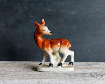 Little Vintage Ceramic Deer Figurine, Woodland Japan