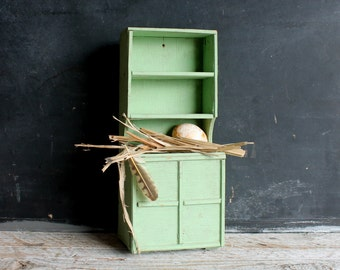 Vintage Handmade Aqua Miniature Cabinet, Shabby Doll Furniture Display, 13 Inches
