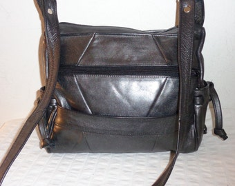 Vintage bag purse butter soft deep gunmetal black  genuine leather patchwork pocket thick strap awesome