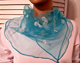 Scarf Nylon Scarf  Vintage Nylon Wrap Blue w White Paisley Print Vintage Scarf.