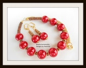 Red all Red Glass Pearl Necklace Earrings with Gold Chain and Dark Red Flowers