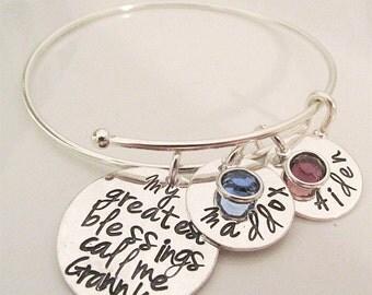 Granny Bracelet - Personalized Bracelet- My Greatest Blessings - Personalized Jewelry - bangle bracelet