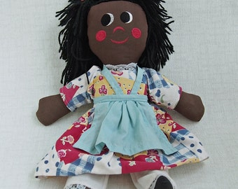 "Mid Century TaBLECLoTH Dress AFRICAN AMERICAN HANDMADE 17"" Naïve Rag Doll EuC"