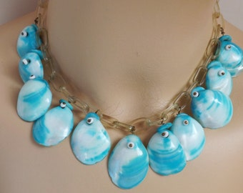 Vintage 1930s 1940s aqua blue sea shell celluoid chain choker necklace nautical Miriam Haskell style reversible button seashell jewelry