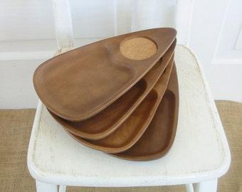 Vintage Mid Century Snack Plate Tray Wood