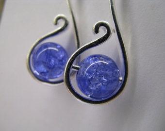 Cornflower Blue Earrings, Blue and Silver Earrings, Crackle Glass Blue Earrings