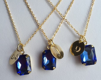 Sapphire Crystal Necklace, Personalized Necklace, Initial Necklace, Rhinestone Necklaces