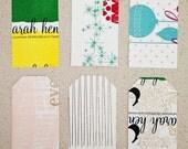 Set of 10 letterpress tags