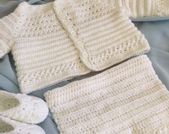 Crochet baby christening set, newborn to three month old baby clothes, crochet baby hat, crochet diaper cover, baby booties, baby sweater