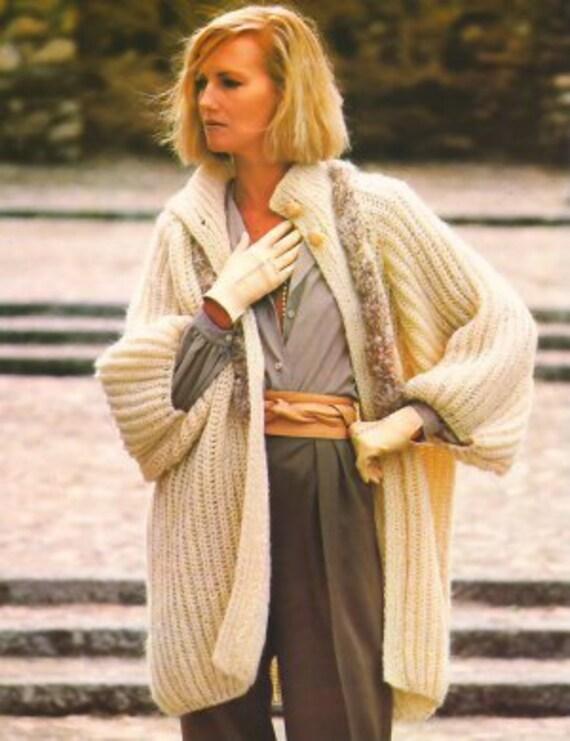 Knit Pattern Women Jacket No 2 Size 14-16 or European 44 in 2 Languages Printable on PDF 80s
