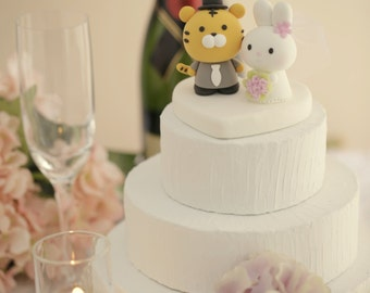 tiger and bunny wedding cake topper, chinese zodiac wedding cake topper.tiger and rabbit wedding cake topper---k933