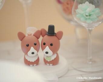 Pembroke Welsh Corgis wedding cake topper---k834
