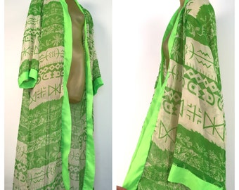 Green Open Robe, Sheer Rayon Full length Duster, Bright Green Geometric Pattern Retro Robe wide sleeves India boho PLaya Wear  2X xxl