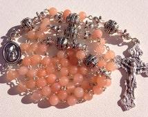 Handmade Peach Agate and Pewter Catholic Rosary, Custom Rosaries, Handmade Jewelry, Religious Necklace, Religious Jewelry