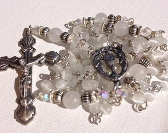 First Communion Rosary with White Snow Quartz Beads