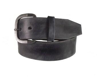 "1.75"" wide Simple Vintage Distressed Black Leather Belt"