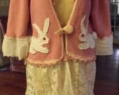 Cardigan/Chenille/White Bunnies/Lace and Muslin Skirt/Muslin Hearts/Tunic/Jacket/Dress
