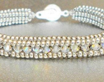 crystal beadwork bracelet sterling silver bracelet