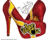 WIZARD OF OZ | Yellow Brick Road | Glitter and Rhinestone Design for Heels / Wedges with Red Glitter Heels